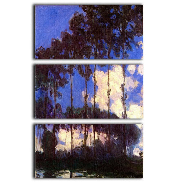 Poplars at the Epte by Monet 3 Split Panel Canvas Print