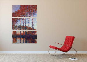 Poplars by Monet 3 Split Panel Canvas Print - Canvas Art Rocks - 2