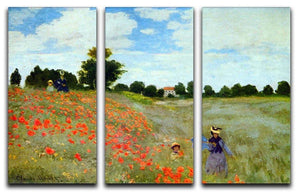 Poppies by Monet Split Panel Canvas Print - Canvas Art Rocks - 4
