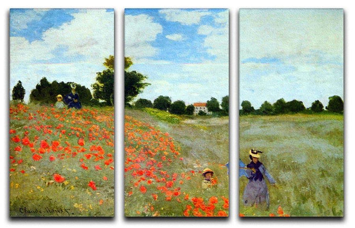 Poppies by Monet Split Panel Canvas Print