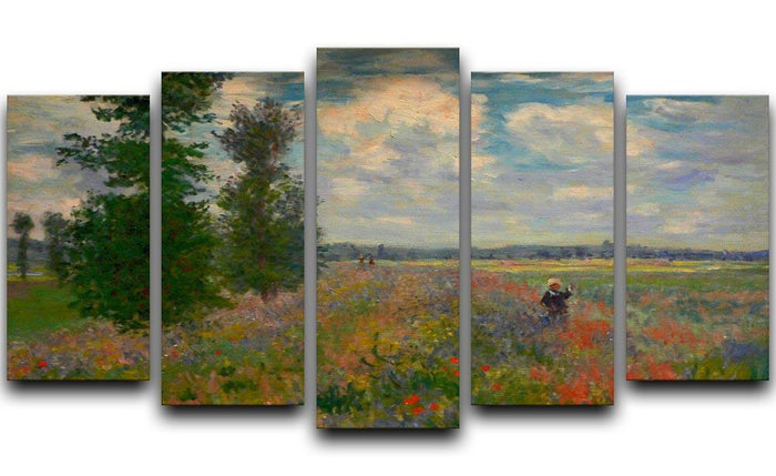 Poppy field Argenteuil by Monet 5 Split Panel Canvas