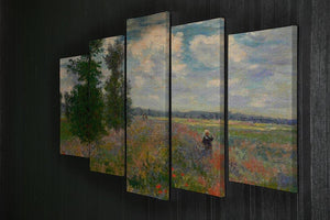 Poppy field Argenteuil by Monet 5 Split Panel Canvas - Canvas Art Rocks - 2