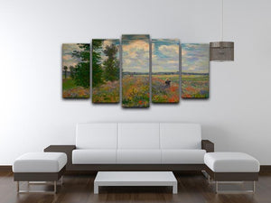 Poppy field Argenteuil by Monet 5 Split Panel Canvas - Canvas Art Rocks - 3