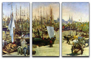 Port of Bordeaux by Manet 3 Split Panel Canvas Print - Canvas Art Rocks - 1