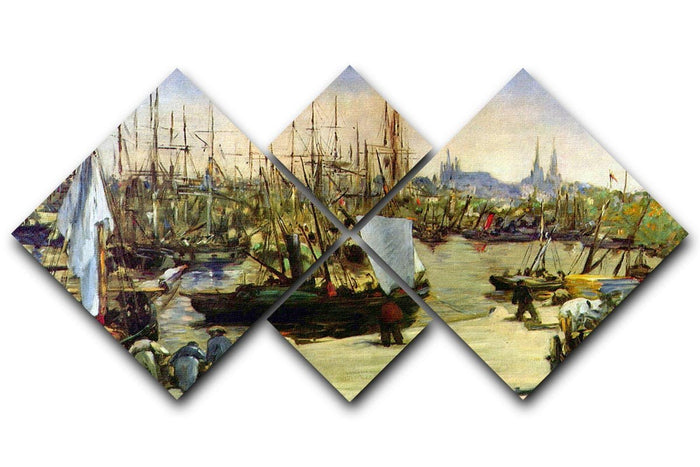 Port of Bordeaux by Manet 4 Square Multi Panel Canvas