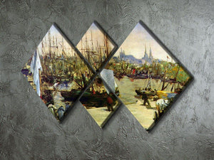 Port of Bordeaux by Manet 4 Square Multi Panel Canvas - Canvas Art Rocks - 2