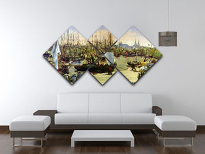 Port of Bordeaux by Manet 4 Square Multi Panel Canvas - Canvas Art Rocks - 3