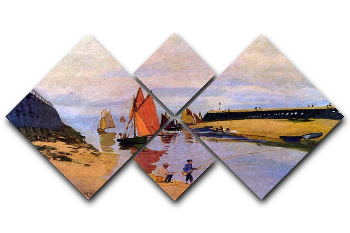 Port of Trouville by Monet 4 Square Multi Panel Canvas