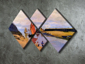 Port of Trouville by Monet 4 Square Multi Panel Canvas - Canvas Art Rocks - 2
