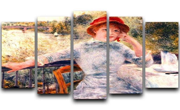 Portrait of Alphonsine Fournaise by Renoir 5 Split Panel Canvas