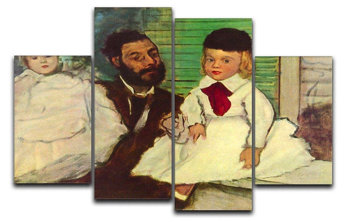 Portrait of Count Lepic and his daughters by Degas 4 Split Panel Canvas