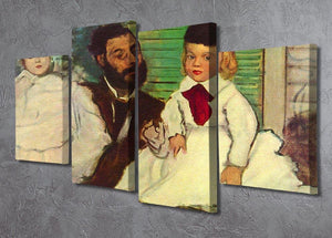 Portrait of Count Lepic and his daughters by Degas 4 Split Panel Canvas - Canvas Art Rocks - 2