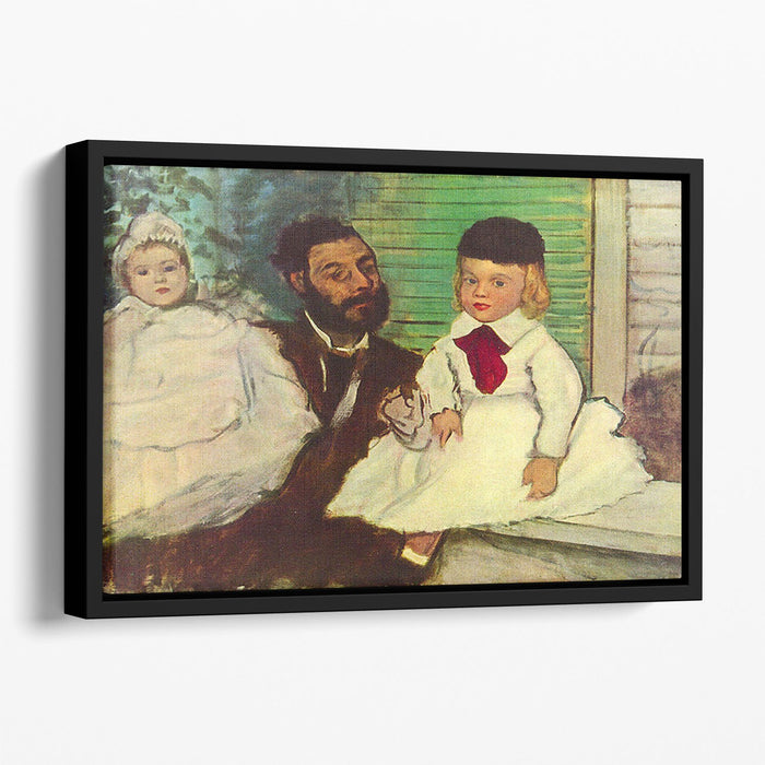 Portrait of Count Lepic and his daughters by Degas Floating Framed Canvas