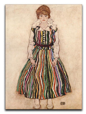 Portrait of Edith Egon Schiele in a striped dress by Egon Schiele Canvas Print or Poster - Canvas Art Rocks - 1