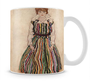Portrait of Edith Egon Schiele in a striped dress by Egon Schiele Mug - Canvas Art Rocks - 1