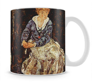 Portrait of Edith Egon Schiele sitting by Egon Schiele Mug - Canvas Art Rocks - 1