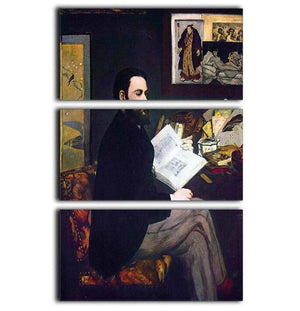 Portrait of Emile Zola by Manet 3 Split Panel Canvas Print - Canvas Art Rocks - 1