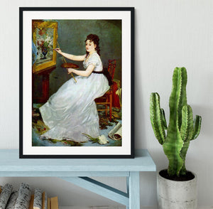 Portrait of Eva GonzalCs in Manets studio by Manet Framed Print - Canvas Art Rocks - 1