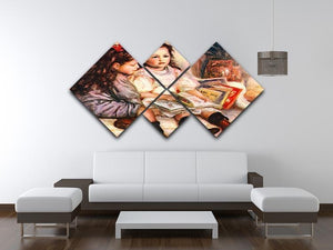 Portrait of Jean and Genevieve Caillebotte by Renoir 4 Square Multi Panel Canvas - Canvas Art Rocks - 3