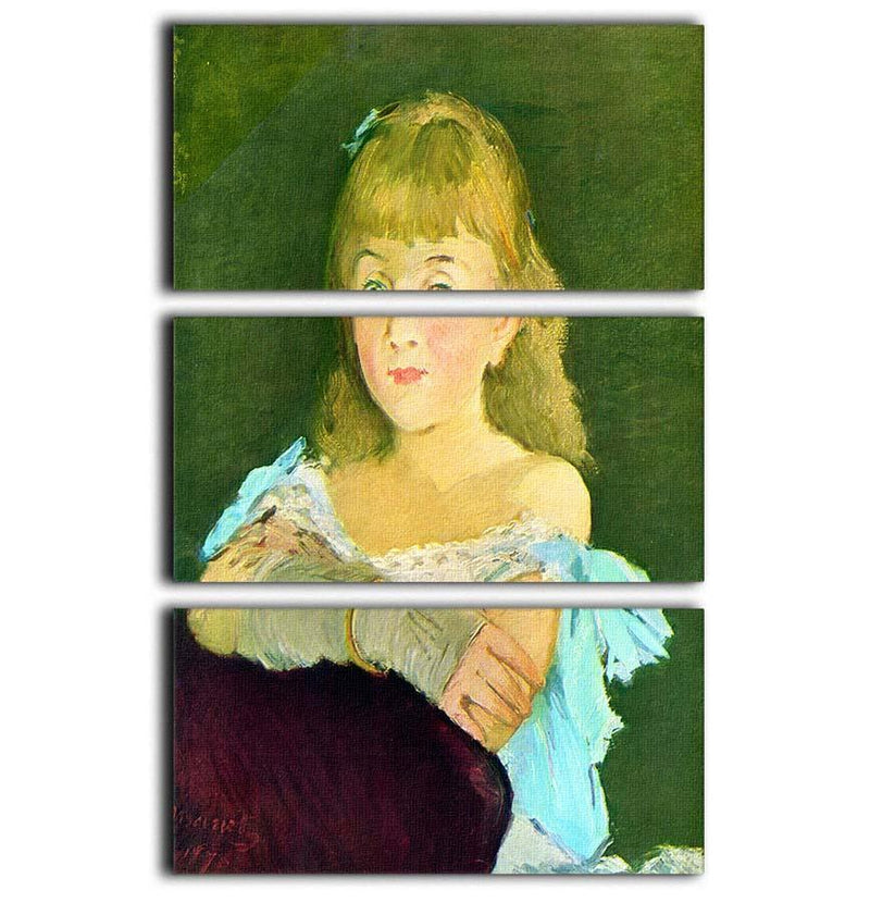 Portrait of Lina Campineanu by Manet 3 Split Panel Canvas Print - Canvas Art Rocks - 1