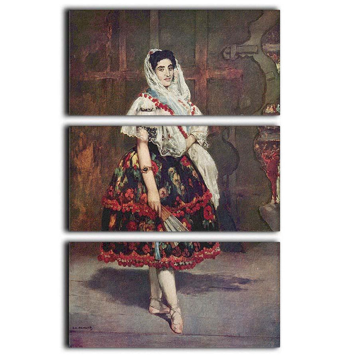 Portrait of Lola de Valence by Manet 3 Split Panel Canvas Print