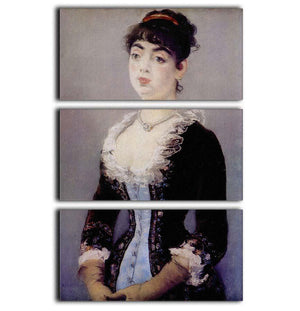 Portrait of Madame Michel LCvy by Manet 3 Split Panel Canvas Print - Canvas Art Rocks - 1