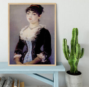 Portrait of Madame Michel LCvy by Manet Framed Print - Canvas Art Rocks - 4