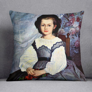 Portrait of Mademoiselle Romaine Lancaux by Renoir Throw Pillow