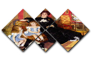 Portrait of the Mrs Charpentier and her children by Renoir 4 Square Multi Panel Canvas  - Canvas Art Rocks - 1