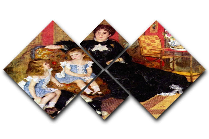 Portrait of the Mrs Charpentier and her children by Renoir 4 Square Multi Panel Canvas