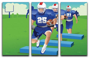 Practicing American football 3 Split Panel Canvas Print - Canvas Art Rocks - 1