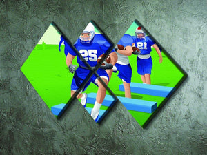 Practicing American football 4 Square Multi Panel Canvas - Canvas Art Rocks - 2