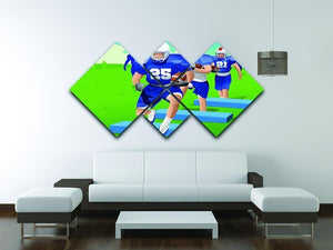 Practicing American football 4 Square Multi Panel Canvas - Canvas Art Rocks - 3