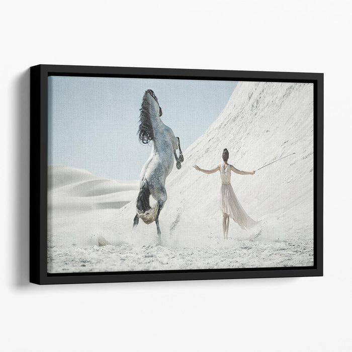 Pretty lady with white horse on the desert Floating Framed Canvas