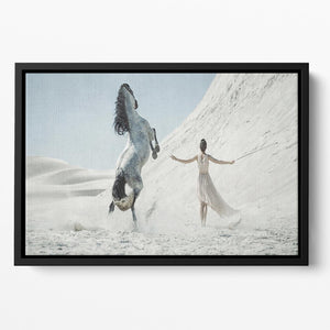 Pretty lady with white horse on the desert Floating Framed Canvas - Canvas Art Rocks - 2