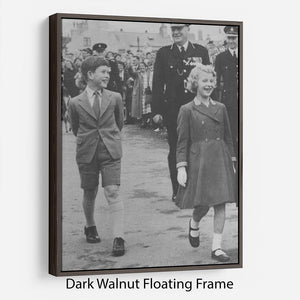 Prince Charles and Princess Anne as children Floating Frame Canvas