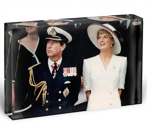 Prince Charles with Princess Diana British forces homecoming Acrylic Block - Canvas Art Rocks - 1