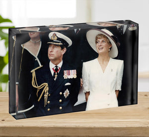 Prince Charles with Princess Diana British forces homecoming Acrylic Block - Canvas Art Rocks - 2