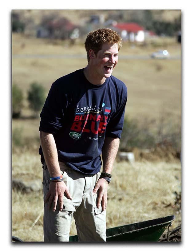 Prince Harry helping build a school in Lesotho South Africa Canvas Print or Poster  - Canvas Art Rocks - 1