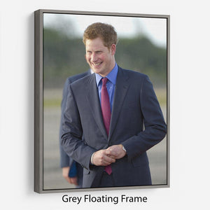 Prince Harry on a royal visit to Belize Floating Frame Canvas