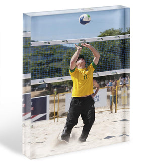 Prince Harry playing volleyball in Rio De Janeiro Brazil Acrylic Block - Canvas Art Rocks - 1