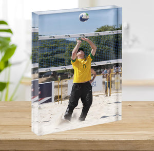 Prince Harry playing volleyball in Rio De Janeiro Brazil Acrylic Block - Canvas Art Rocks - 2