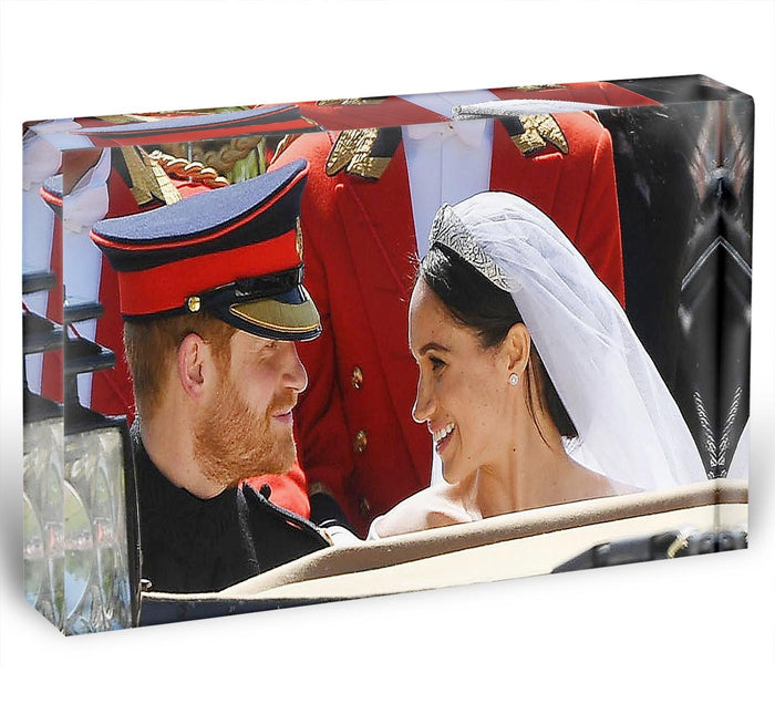 Prince Harry smiles at his new wife Meghan Acrylic Block