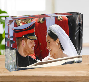 Prince Harry smiles at his new wife Meghan Acrylic Block - Canvas Art Rocks - 2