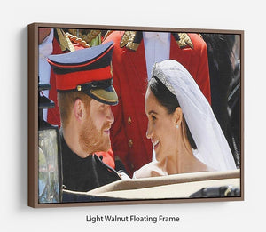 Prince Harry smiles at his new wife Meghan Floating Frame Canvas