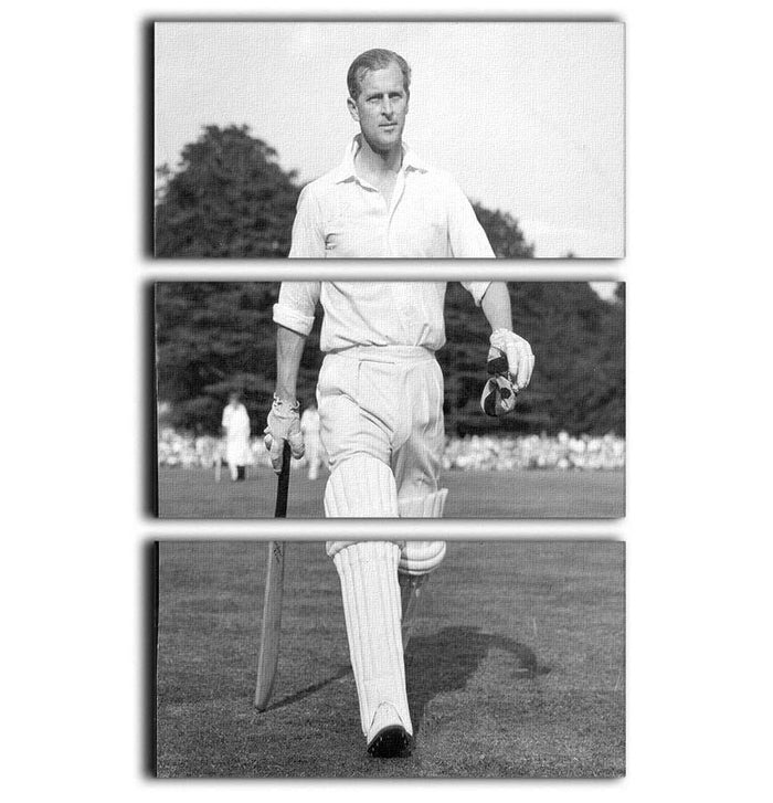Prince Philip as cricket captain in a charity match 3 Split Panel Canvas Print