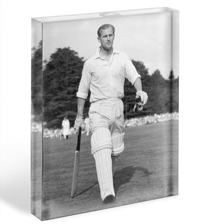 Prince Philip as cricket captain in a charity match Acrylic Block - Canvas Art Rocks - 1