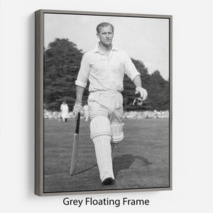 Prince Philip as cricket captain in a charity match Floating Frame Canvas
