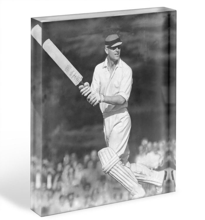 Prince Philip batting at a charity cricket match Acrylic Block