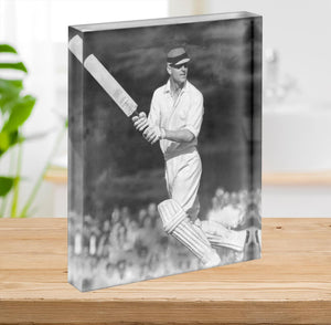 Prince Philip batting at a charity cricket match Acrylic Block - Canvas Art Rocks - 2